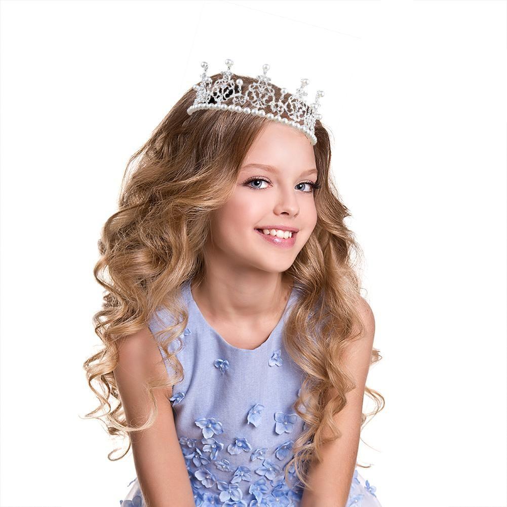 New Children Hair Accessories Princess Tiara Headband Baby Crown Pearl Cake  Baking Decor Kid Headwear Hair Accessories For Black Girls Toddler Flower  Girl ... 0d59bb45728