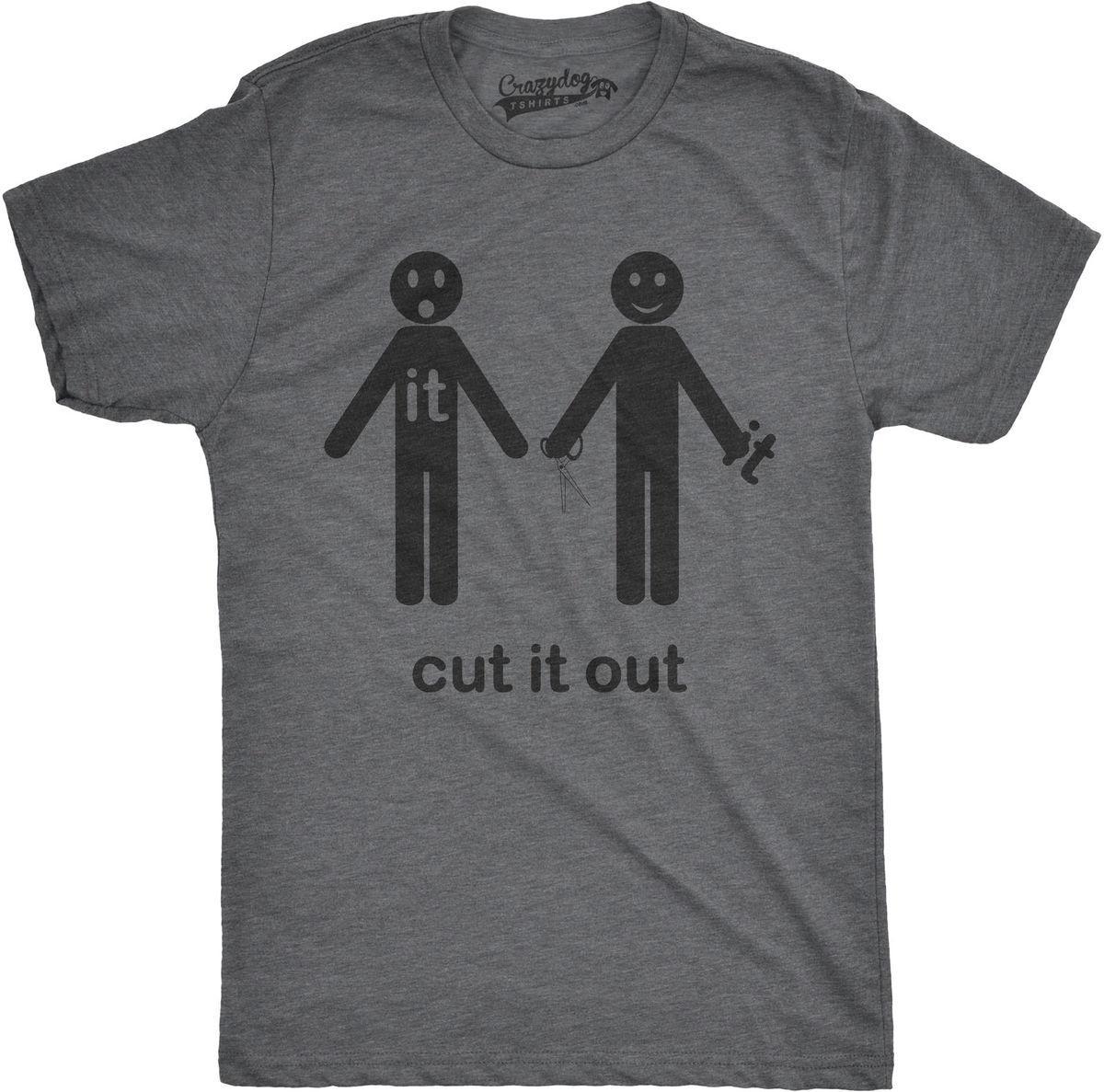 2d07ac89 Mens Cut It Out Funny Stick Figure Hilarious Phrase Scissor T shirt Tees Men'S  Clothing Big Size:S-Xxl Newest 2018 Fashion