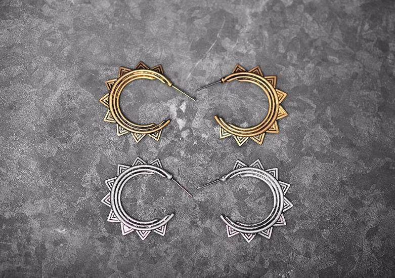 Europe America Retro Simple Hyperbolic C-type Geometric Big Stud Earrings Beautiful Patterns Women Sterling Silver Gold Plated Jewelry