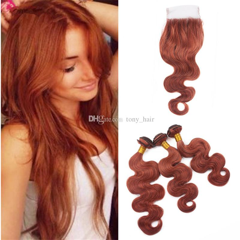 2018 Body Wave Copper Red Human Hair Weaves With Lace Closure Color
