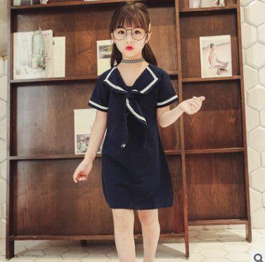 1321626d2dc7 Summer Big Girls Stripes Dress Navy Style Children Lace-up Tie Lapel ...