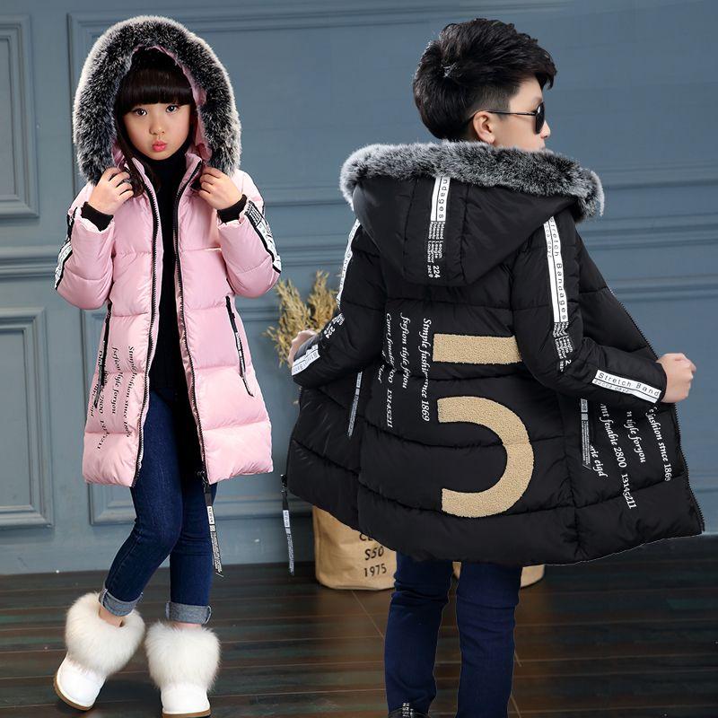 f365568f8356 2017New Kids Long Parkas For Girls Fur Hooded Coat Winter Warm Down ...