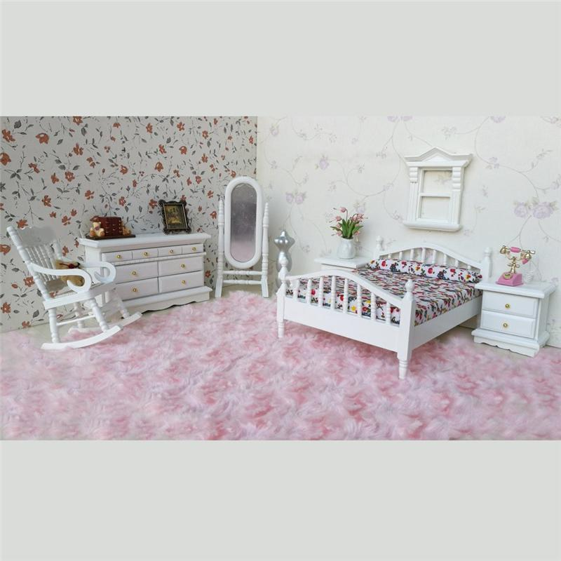 1 12 Dollhouse Miniature White Wooden Bedroom Furniture Set Bed