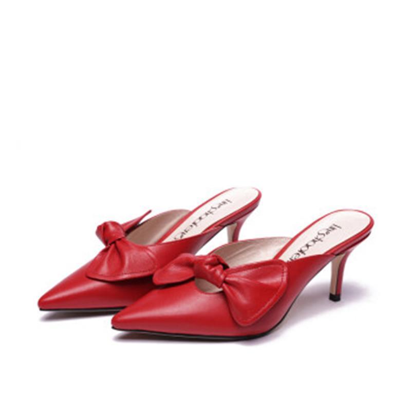 4c67dfe116 Compre Moda Couro Bowknot Sandálias Das Mulheres De Verão Sapatos De Salto  Baixo Senhoras Ao Ar Livre Slides Casual Chinelo Vermelho De Bag80666