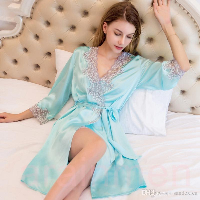 New Sexy Real Silk Women Bathrobes High Quality 100% Mulberry Silk Two-Piece Robe Sets Noble Elegant Embroidery Nightgowns