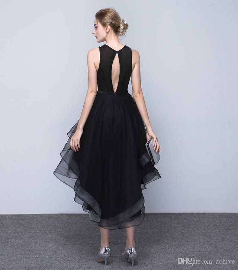 Şık Siyah Yüksek Düşük Gelinlik 2020 Boncuklu Pullarda Tül Mezuniyet Elbiseleri Parti Elbiseleri Yarı Resmi Elbise Ucuz Mezuniyet törenlerinde