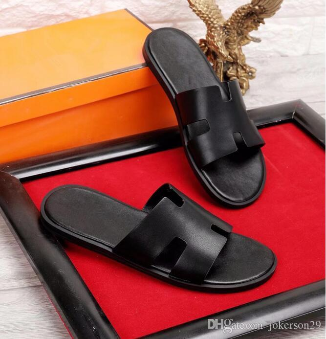 426614cf6 High quality Genuine Leather men's designer slippers clip feet flip style  European Tiger lines style Shoes luxury brand sandals with box