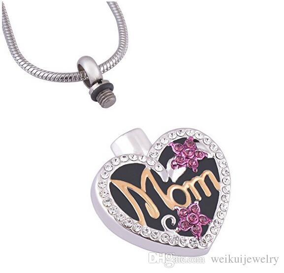 Las urnas funerarias de cremación colgante de joyas con el corazón de diamantes MOM puede abrir el collar de mascotas de la familia de la marca de acero inoxidable