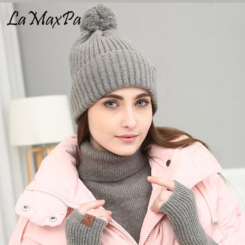 Acheter LaMaxPa 2018 Nouvelle Mode Solide Épaisse Femmes Écharpe, Chapeau  Gant Ensembles Pompon Anneau Tricoté Hiver Chaud Beanis Wrap Dropshipping De  ... 146138c7641