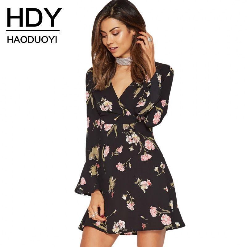 HDY Floral Dress Women Deep V Neck Butterfly Sleeve Vestidos Femme ... c957adefd