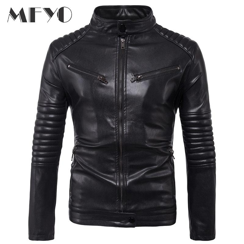 Brand New Motorcycle Male Pu Leather Jackets Pu Casual Stand Collar