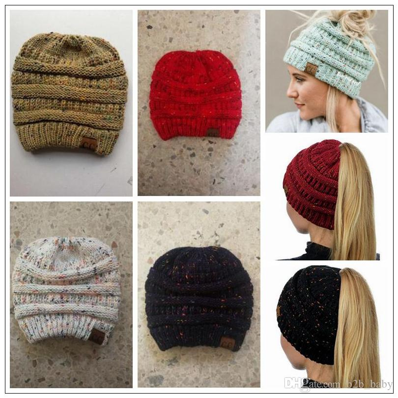 0491cdfa938 Women CC Confetti Print Ponytail Caps CC Knitted Beanie Fashion Winter Warm  Hat Back Hole Pony Tail Casual Beanies CCA8516 CC Ponytail Caps CC Ponytail  ...