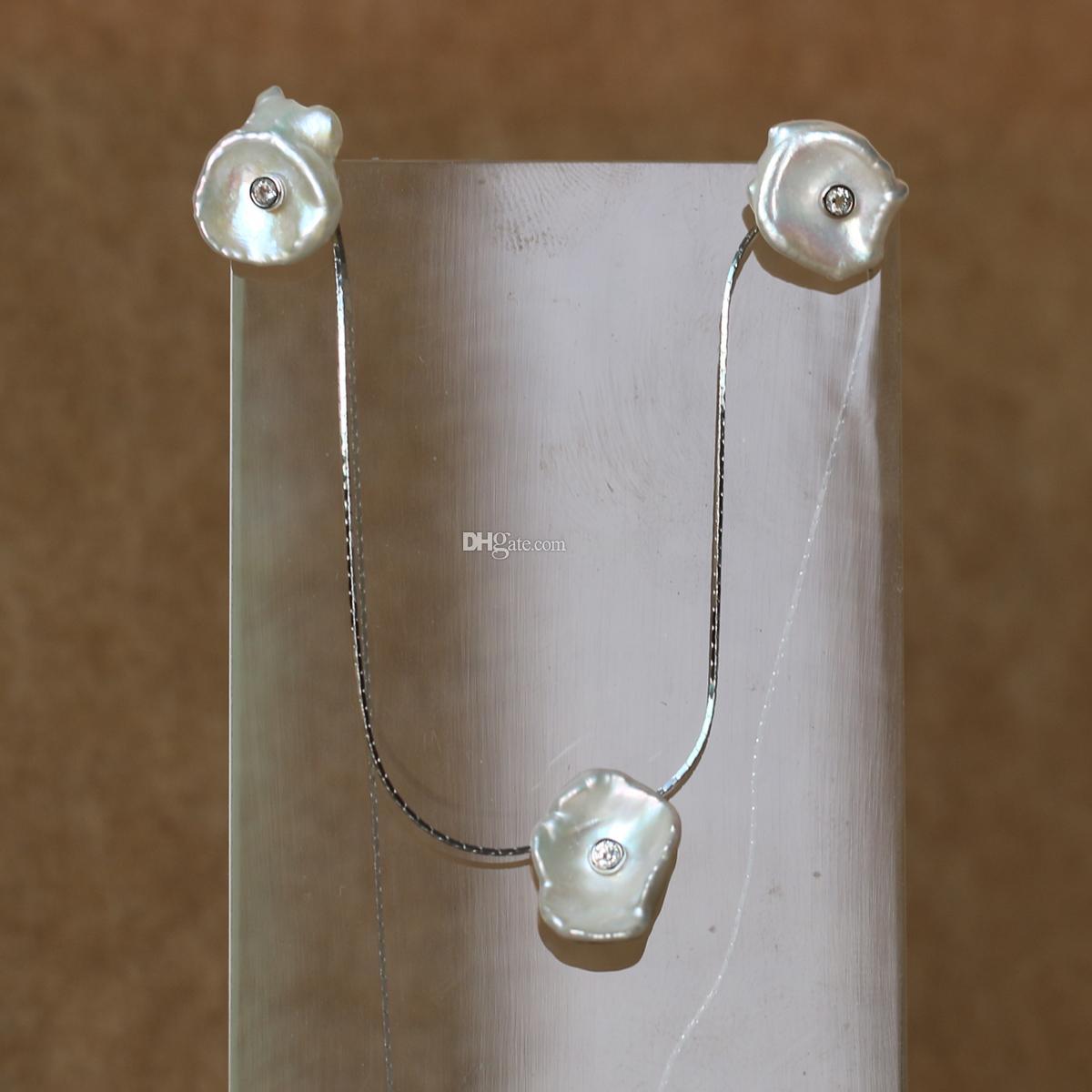 2018 son tarzı Düzensiz saf inci kolye gerçek 925 Ayar Gümüş Zincir Inci Set Küpe Ve Kolye Takı Seti Güzel Jewel