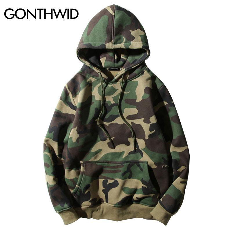016c1426b960 2019 Wholesale GONTHWID Army Green Camouflage Hoodies 2017 Winter Mens Camo  Fleece Pullover Hooded Sweatshirts Hip Hop Swag Cotton Streetwear From  Yukime