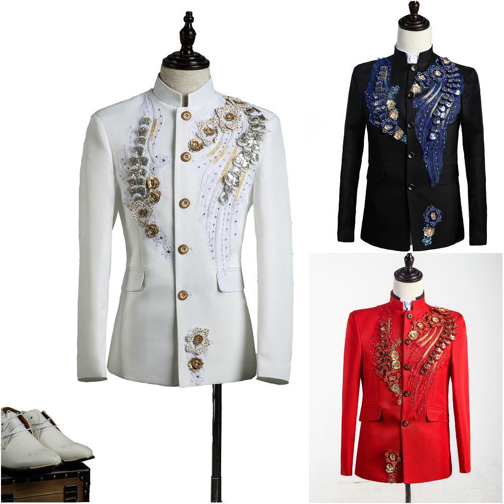 1b6cb1830b4 Jacket+pants New Men Suits Set Dancer Singer Dress Performance Show ...