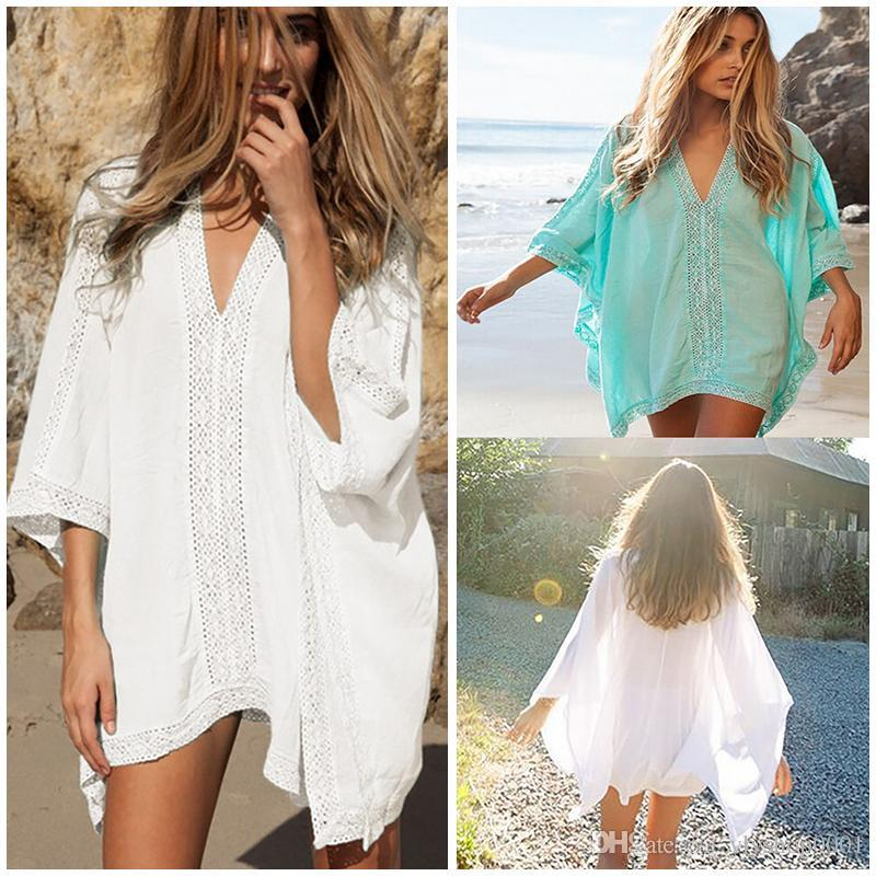 a7701fb95c Plunge-front Caftan Pareo Beach Cover Ups Rayon White Robe De Plage ...