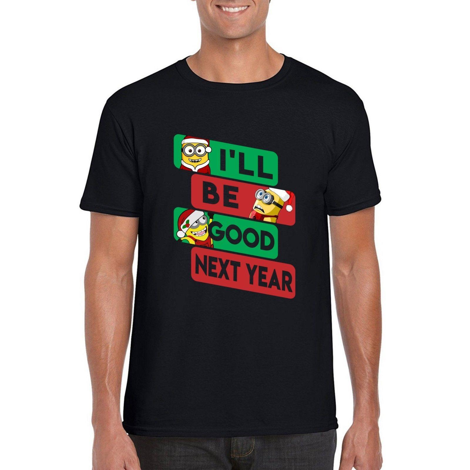 minion christmas t shirt ill be good next year xmas inspired parody tee top best site for t shirts funny t shirt companies from fashiontshirt - Minion Christmas Shirt