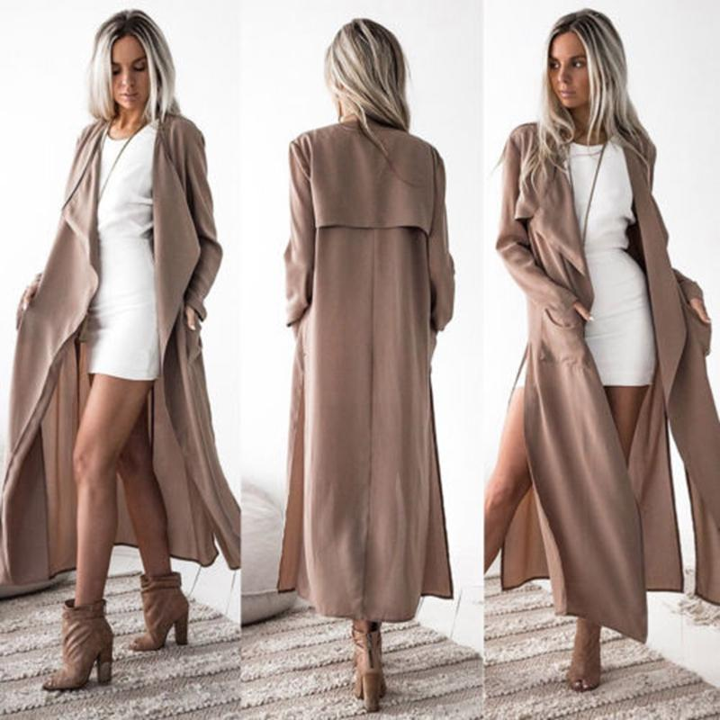 wholesale dealer 52ed8 09873 Frauen Mantel Damen Langarm Wasserfall Jacke Outwear lange Maxi Coat