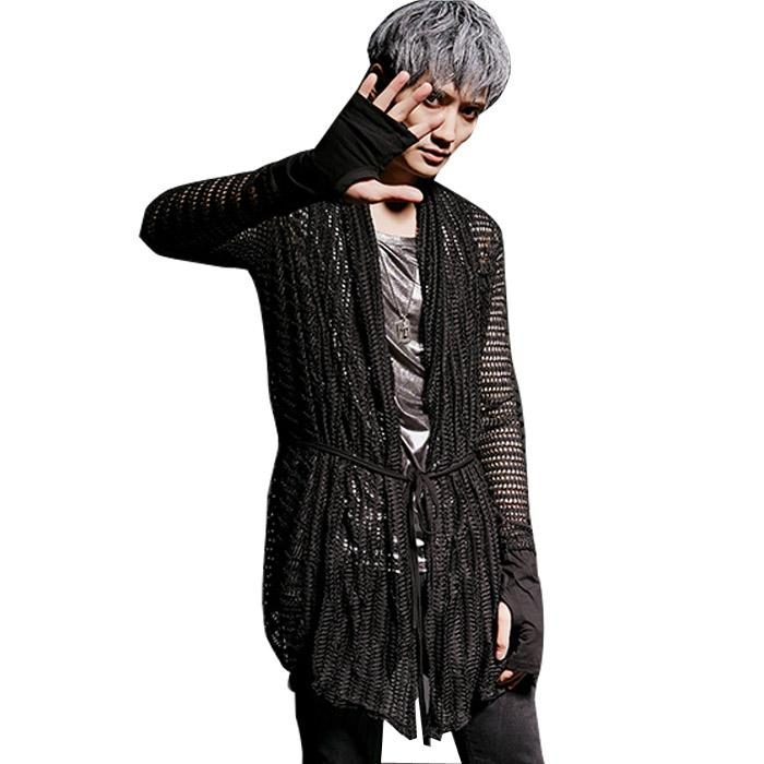 570a0ea954be7 2019 Spring Summer Hollow Male Cardigan Coat Fashion Casual Punk Gothic  Long Sleeve Gloves Men Tench Jacket From Vanilla03