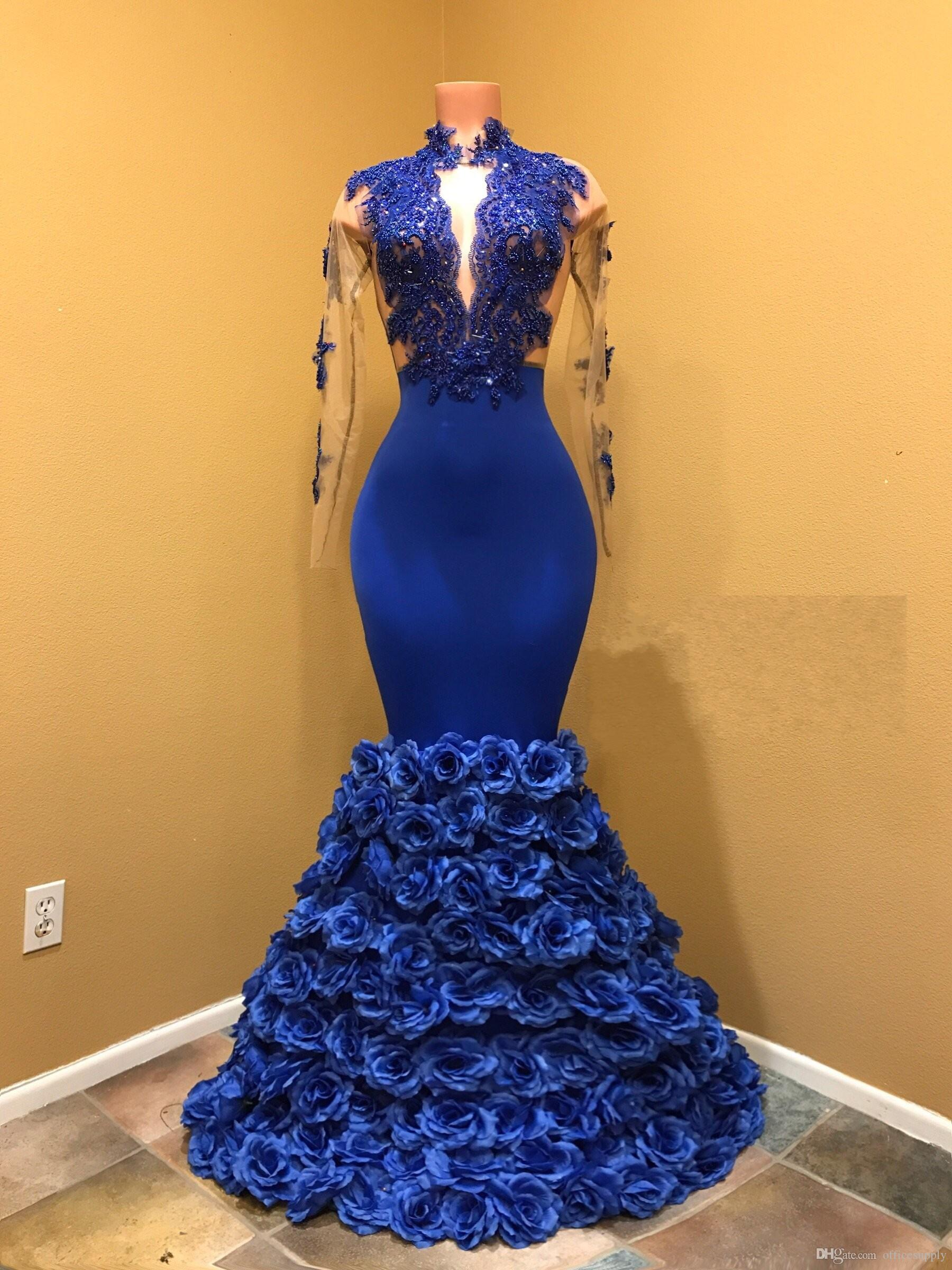 2019 Royal Blue Mermaid Prom Dresses With Rose Floral Flowers Sheer Backless Evening Gowns Appliqued Lace Long Sleeves Plus Size Party Gown