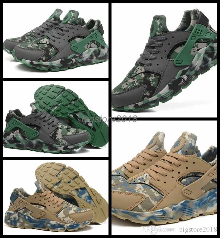 b8c434ec1e4 2018 Air Huarache Run Camo Thomas Men Sport Shoes Green Mens ...