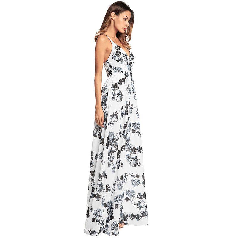 Toptan Ücretsiz Kargo Moda Tasarım Kadınlar Uzun Halter Çiçek Baskı Yaz Rahat Bir Çizgi Zarif Seksi Boho Plaj Elbise