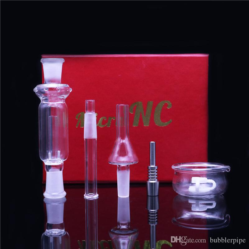 10mm Mini Nectar Collector Kit Micro NC Kits Glass Smoking Pipe Dab Straw Nector Collectors With Mouthpiece Titanium Tip Dish