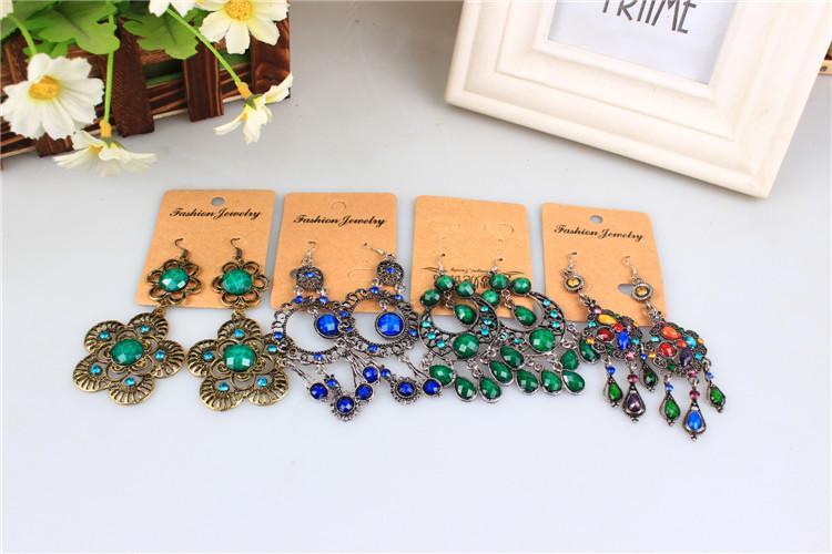 Orecchini pendenti etnici della Boemia del pendente di Multiplo Stili multipli Orecchini del diamante dell'annata delle donne dell'annata della lega Orecchini pendenti misti