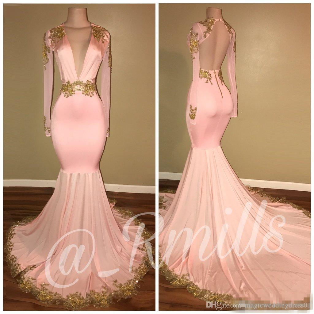 2018 New Sexy Open Back Pink Prom Dresses Mermaid Deep V Neck Long Sleeves Gold Appliques Sweep Train Formal Evening Gowns BA7606