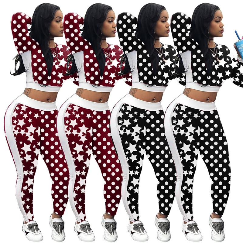 b8f4f14a08bcd Compre Mujeres Star Polka Dot Imprimir Chándal Camisa De Manga Larga Crop  Top + Pantalones Leggings 2 UNIDS Conjunto Casual Otoño Trajes Medias De  Jersey ...