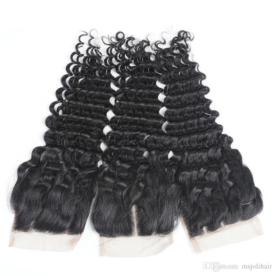 Бразильские девственницы человеческие волосы кружевные замыкания кузова волна свободная волна глубокая волна прямая странная прямая натуральная черная 4x4 кружевные закрытия MS Joli