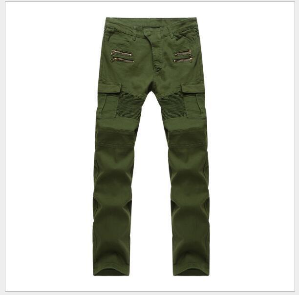 Army Green Biker Jeans Мужские джинсы скинни-карго с боковыми карманами 2017 Мужские джинсовые брюки Повседневная Slim Fit Молния Джинсы мотоцикла Homme