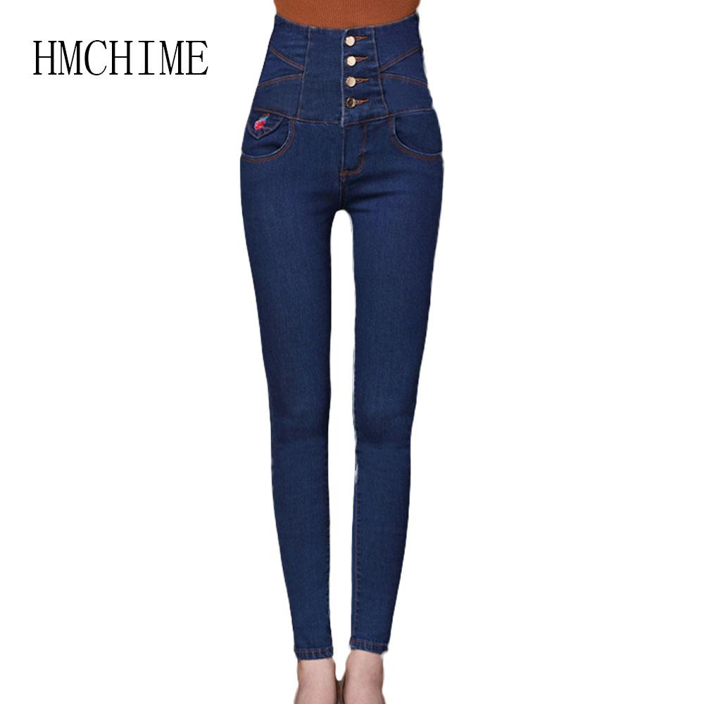 2019 Plus Size High Waist Women Jeans Embroidery Flower Stretch Female Cowboy Denim Pants Single Breasted Package Hip Jean From Cactuse 3702