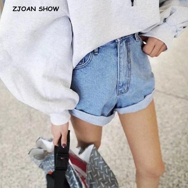 80cc0ddc3763 2019 Hight Street High Waist Roll Up Cuffs Short Denim Shorts Ripped Denim  Short Pants Sexy Summer Wide Leg Short Jeans Women From Aidior001