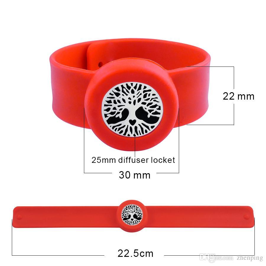 Arbre 25mm Diffuseur médaillon Bracelet anti-moustique pour enfants Huile essentielle Diffuseur médaillon Bracelet en silicone extensible Slap