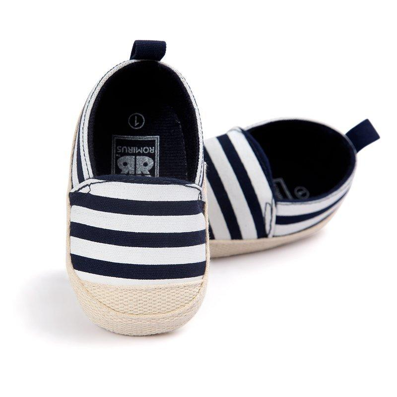 a5ed2aaa3371 2019 2018 Fashion Blue Striped Baby Boy Shoes Lovely Infant First Walkers  Good Soft Sole Toddler Baby Shoes Hot Sale From Pvflymk1