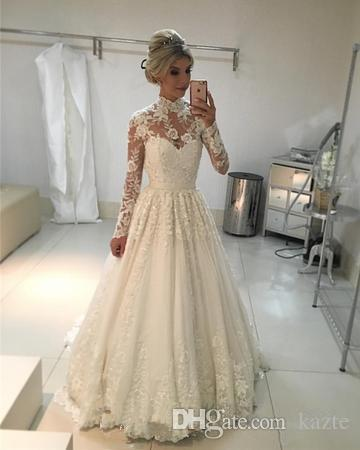 compre vestidos de boda de manga larga de encaje vintage 2019 retro