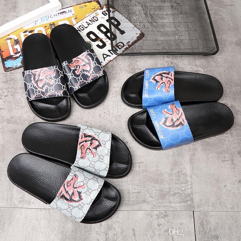 e60f84f6314d9 2018 New Top Quality Luxury Brand Designer Slipper Men women Summer Rubber  Sandals Beach Slide Fashion Scuffs Designer Slippers Shoes