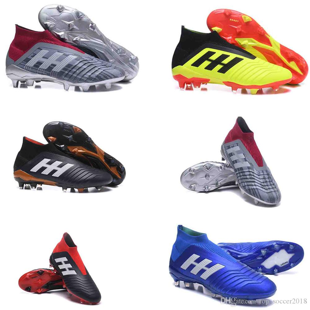 825b29e2f Original Youth Predator 18+ Pogba FG Football Boots Laceless Lace Up Mens  High Ankle Kids Soccer Cleats Outdoor Soccer Shoes size 35-45