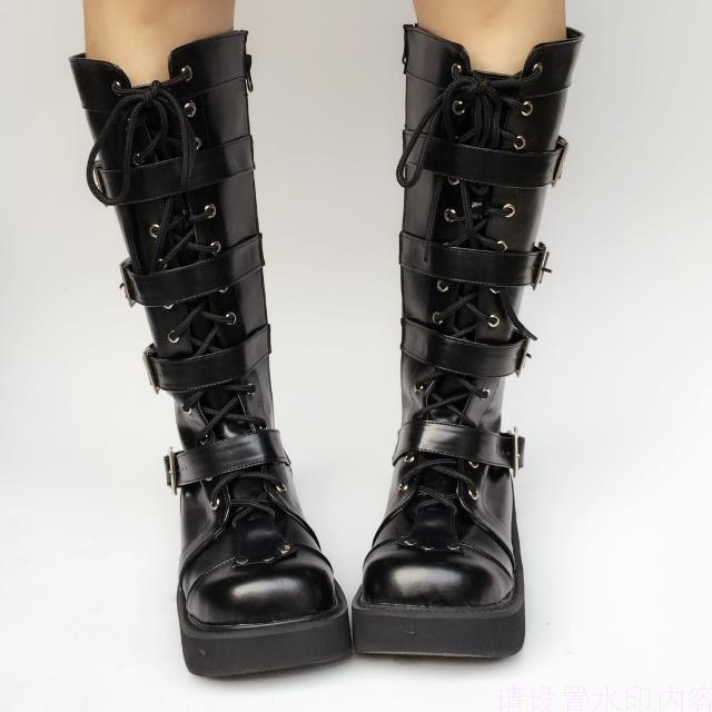 dcf06bb33c Japanese Harajuku High Platform Cosplay Lolita Mid Calf Boots Women Black  PU Leather Buckle Straps Lace Up Gothic Punk High Boot Heels Boot From  Chingkee