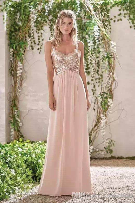 2019 nova rosa de ouro vestidos de dama de honra uma linha de espaguete sem encosto lantejoulas chiffon barato longo casamento convidado do vestido de noiva vestidos de dama de honra