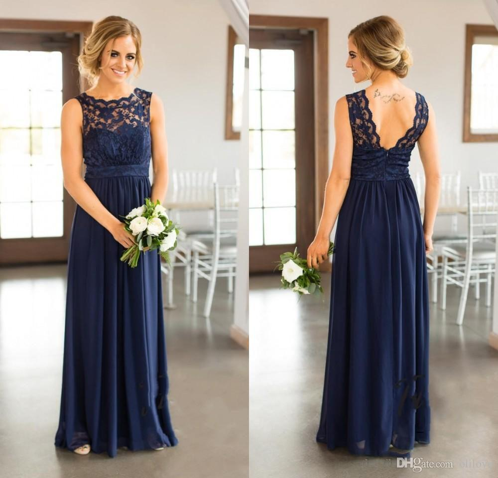 Plus Size Formal Dress Maid of Honor Bridesmaid Dresses New Cheap Country  For Weddings Navy Blue Jewel Neck Lace Appliques Floor Length Dres