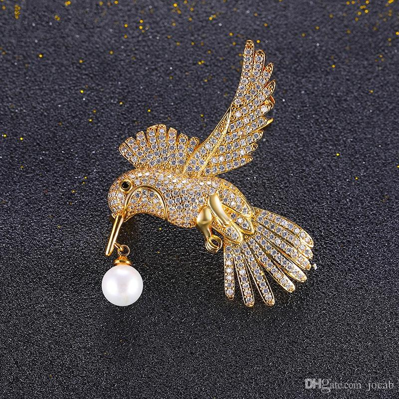 Wholesale Handmde DIY Brooch Jewelry Flying Birdie Red-crowned Crane Flamingo Metal Bird Overcoat Brooch Pins Dress Jacket Pin Badge Gift