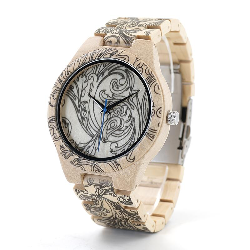 bd58fe5d9be Compre Relógio De Pulso Relógio De Quartzo BOBOBIRD Tatto Impressão De Madeira  Relógios Mens Todos Maple De Madeira De Quartzo Relógio De Pulso Em Caixa  De ...
