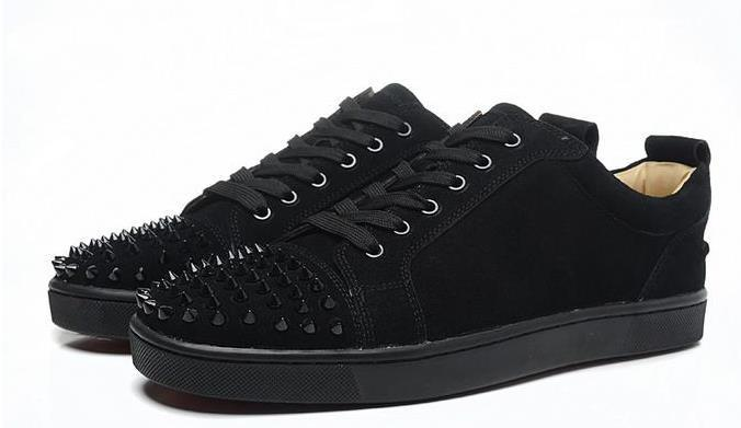 Lüks Parti Düğün Ayakkabı mens womens siyah süet siyah spike toe ile düşük üst sneakers, tasarım nedensel ayakkabı 36-46 drop shipping