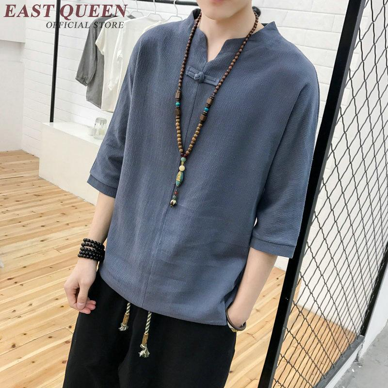 Compre Roupas Asiáticas Homens Camisas De Linho Homens Roupa Tradicional  Chinesa Oriental Mens Clothing KK1663 H De Yuanchun 62c8df6bddc