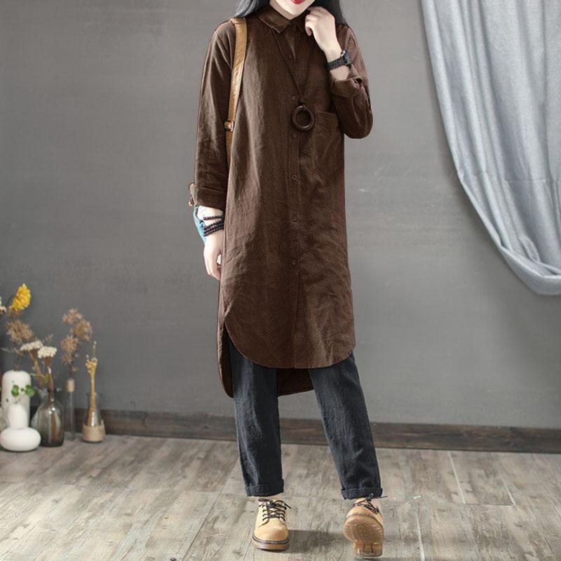 c6fa9c94d6b 2019 Oversized ZANZEA Women Cotton Linen Long Shirt Dress Lapel Neck Long  Sleeve Buttons Pockets Solid Loose Work Irregular Vestido From Lvyou09