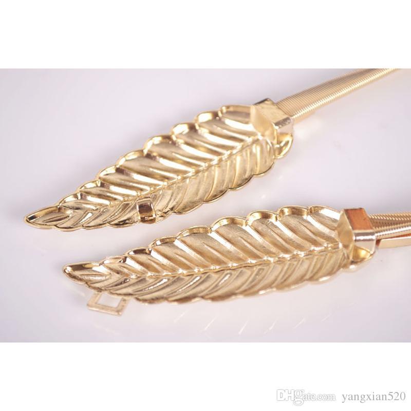 المرأة ليف تصميم حزام أوراق معدنية مشبك مشبك cummerbund جبهة تمتد حزام الذهب والفضة مرونة الخصر حزام يترك سلسلة حزام