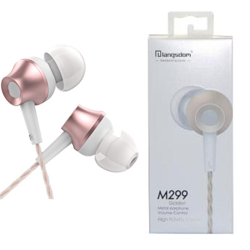 Langsdom M299 Metal Volume Control Earphone Stereo Headsets with Mic Earbuds For iPhone Samsung Mobile Phone with Retail Package
