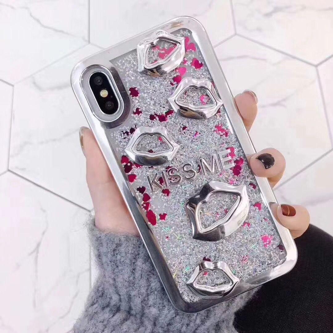 Bling Glitter Liquid Kiss lips TPU Funda Cubierta de arenas movedizas para iPhone X 6 7 7 Plus 8 PLUS